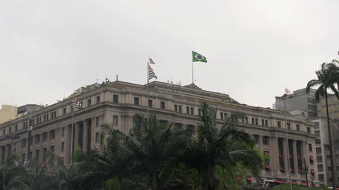 110 Sao Paulo , colonial buildings with flags on r Footage