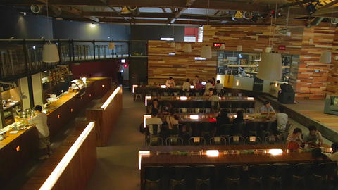 Pier 2 Art Center - trendy 2 level coffee shop ang Stock Video Footage