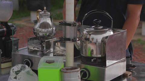 Cijin Island - Outdoor Mobile Coffee 2nd Angle stock footage