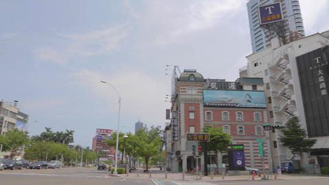 pan of Kaohsiung busy intersection jhongshan and d Footage