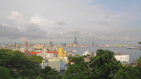Wide Shot Kaohsiung Harbor Aerial stock footage