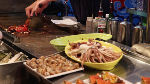 Liuhe Night Market - close-up cooking seafood Footage