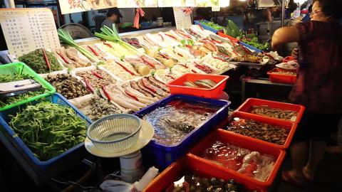 Liuhe Night Market - vendor food display Footage
