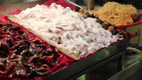 Liuhe Night Market - macro of seafood Footage