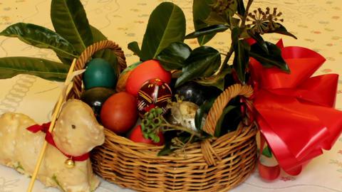 Static film shot of Easter basket Stock Video Footage