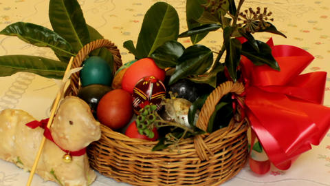 Static Film Shot Of Easter Basket stock footage