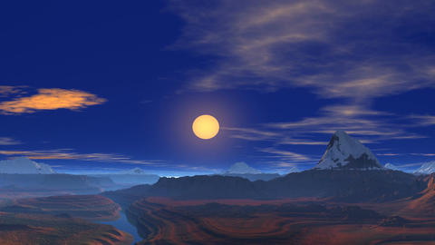 Flying over the mountains towards the sun Animation