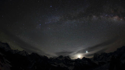 Time lapse of stars behind mountains Everest, Lhot Footage