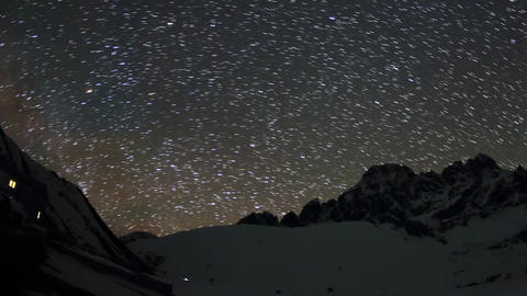 Time lapse of stars behind mountains Pharilapche p Stock Video Footage