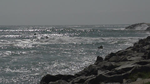 043 Laguna , Beach , surfers in water , slowmotion Footage