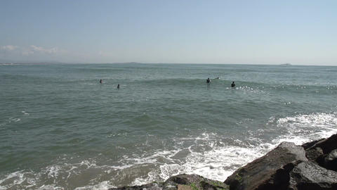 047 Laguna , Beach , surfers in water Footage