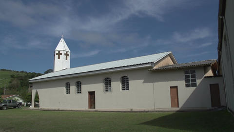 075 Laguna , small village , church , panshot Stock Video Footage