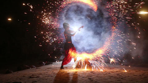 Artist turns the fireworks fire performance Footage