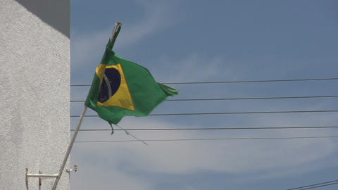 0144 Flag of Brazil on building , bleu sky , elect Footage