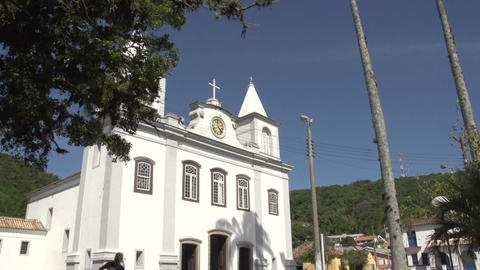 0152 Laguna , Church , bleu sky , palm trees Stock Video Footage