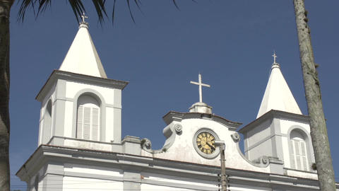 0154 Laguna , Church , Close up , bleu sky , palm Stock Video Footage