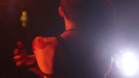 Artist turns the fire fans performance Stock Video Footage