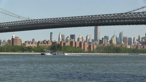 Ferry On The East River stock footage
