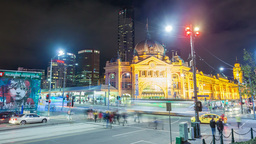 4k timelapse video of Flinders Street station in M Stock Video Footage