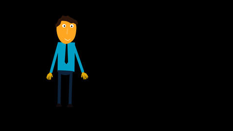Character animated Tom says hello alpha Stock Video Footage