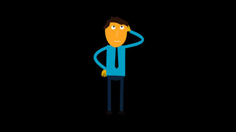 Character Animated , Man Thinking Cartoon With Alp stock footage