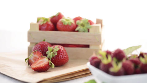 Strawberries and raspberries Stock Video Footage