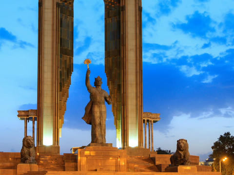 Ismoil Somoni Monument. SunSet. Time Lapse. 14 Aug Footage