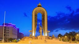 Ismoil Somoni Monument. SunSet. Time Lapse. 14 Aug Stock Video Footage