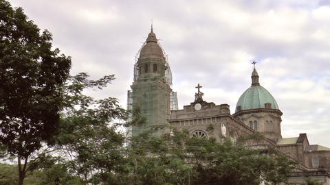 Manila Cathedral Front stock footage