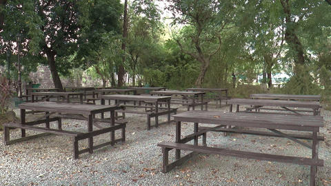 empty table bench on peaceful park Footage