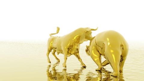 Animation Of Bull And Bear stock footage