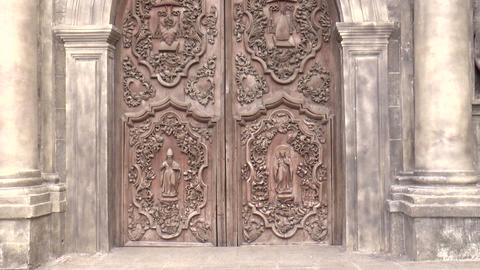 San Agustin Church Door Zoom In stock footage