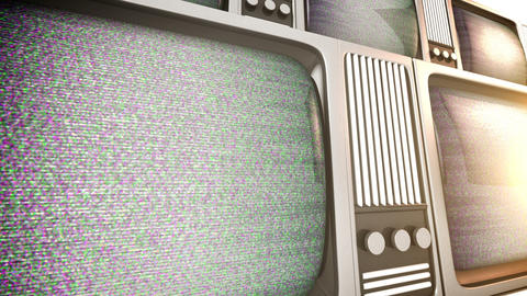 tv sets with static Footage