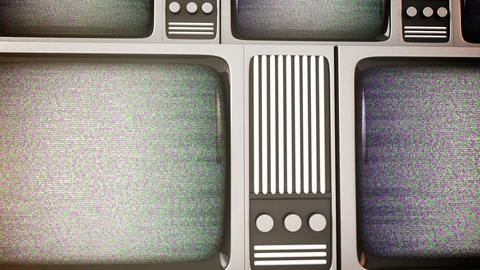4K. Retro tv screens with static Footage