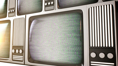 4K. 3D render of Retro television equipment noise  Footage