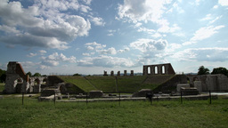 Panoramic View Archeological Site Italy stock footage