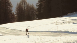 Cross Country Ski Dolomites Mountains Sunset Footage