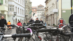Editorial City Life Bicycle And People Stock Video Footage