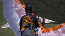 Paraglider Prepare To Fly stock footage