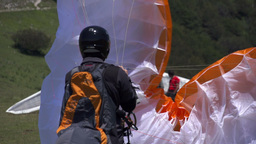 Paraglider Prepare To Fly Stock Video Footage