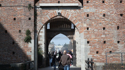 Tourism At Castello Sforzesco Milan italy Stock Video Footage