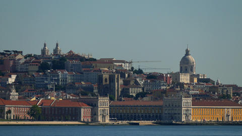 Panoramic View on the Lisbon and River Stock Video Footage