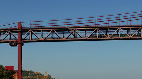 Train on the Lower Level 25 de Abril Bridge in Lis Stock Video Footage