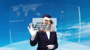 Futuristic Business Interface Woman After Effects Template