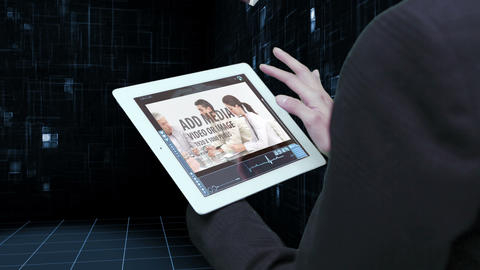 Business tablet linked with cloud After Effects Template