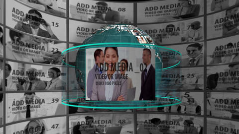 Media Globe with Video Wall After Effects Template