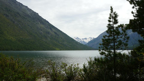 4K UHD Stock footage Mountain Lake at Cloudy Day Footage