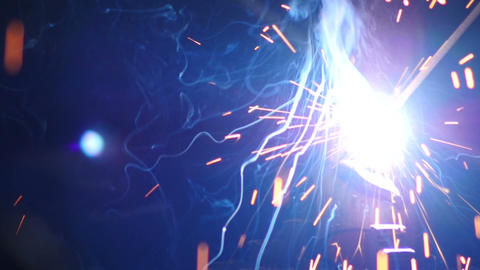 Stock Footage Bright Welding Sparks Closeup Slow Footage