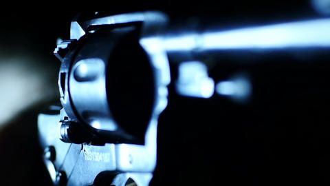 Stock Footage Revolver Makes Blank Shots Macro Stock Video Footage