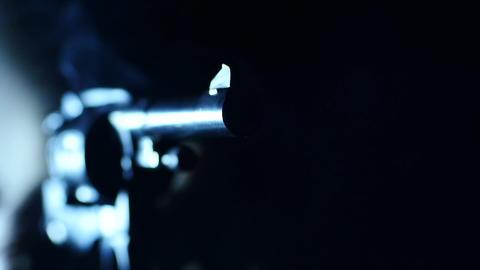 Stock Footage Revolver Shoots Macro Footage